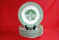 "Royal China THE OLD CURIOSITY SHOP Rimmed Soup Bowls (Set of 8) 8-1/2"" Green"