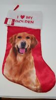 Golden Retriever  Dog Christmas Stocking  I Love My Golden Holiday New (G1)