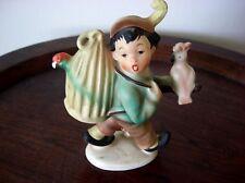 Keramik Figur Cortendorf 50 iger Jahre Junge mit Papagei auf Wanderschaft