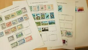St Kitts & Nevis stamps 1952 QE era- from new age album pages mint/fine used