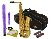Intermediate ALTO SAXOPHONE GOLD LACQUER Eb Key  Shop Adjusted Best Value!