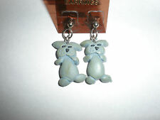 Gray dog fimo clay earrings-wires or posts