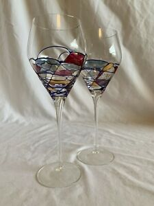 Milano Romanian Stained Glass Tall Stem Wine Glasses