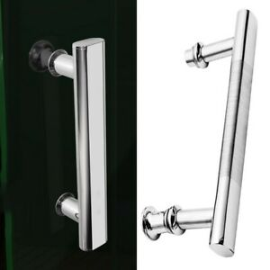 Bathroom Or Shower Glass Door-Handles Pair Curved Chrome Plastic 220mm