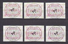 """Schweiz - 6x FRAMA Sonder-ATM """"Basler Taube `95"""" - Sonderstempel [JUNAPHILEX] !!"""