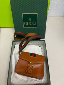 super cute Gucci small leather brown purse shoulder bag 5x5 with box