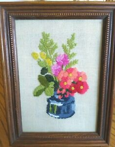 Vintage 1974 Jiffy Stitchery Crewel Embroidery Framed Picture, Flowers, Inkwell