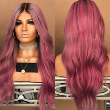 28'' Women Curly Red Black Fiber Wig Hair Long Wavy Puffy Wigs + Free Wig Cap