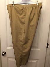 LANDS' END Size XL / 16 Khaki Button Zip Elastic Waist Pocketed Capri Pants NEW