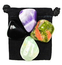 GIFT of PROPHECY Tumbled Crystal Healing Set = 4 Stones + Pouch + Description