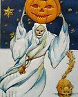 Halloween Postcard Antique Nash H-40 Grim Reaper Skeleton Death Fantasy Embossed