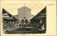 Lippspringe Ansichtskarte um 1900 Partie an der Trinkhalle Grünanlagen Personen