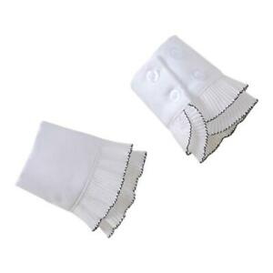 Women Decorative Fake Sleeves Double Layer Pleated White Horn Cuffs Wrist Warmer