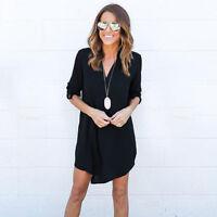 Plus Size Womens Chiffon Loose V Neck Shirt Dress Long Sleeve Casual Blouse Tops