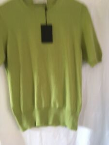 Pringle Of Scotland Lime Green Short Sleeve Cashmere Jumper Size XL BNWT