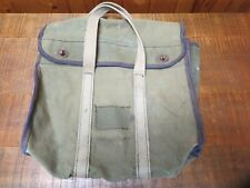 New listing Vintage Green Military Canvas Bag Satchell Handled Copper Twist Style Closure