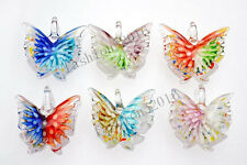Wholesale Lots 6pcs Butterfly Flower In Lampwork Glass Pendant Fit Necklace Gift
