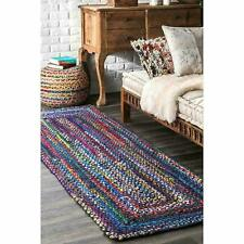Rug Cotton Area Carpet Rag Rug 2x8 Feet Runner Multi-Color Hand Yoga Dhurrie Mat