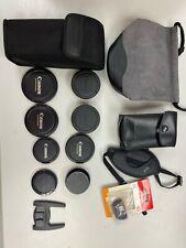 Canon Flash Pouch, lens caps, lens pouch, hand grip strap.