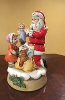Vintage Santa Christmas Music Box Child Handpainted Ceramic Silver Bells 1970s