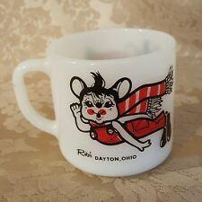 Vintage Federal Milk Glass Christmas Mouse Mug RIKE'S Department Store DAYTON