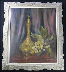 Vintage Mid Century? Wine Bottle Grapes Still Life Oil Painting signed McGrath