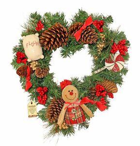 Gingerbread Themed Heart Christmas Door Wreath Decoration