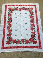 "Vintage Printed Christmas Tablecloth Poinsettias 64"" X 52"""