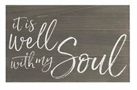 It Is Well With My Soul Dark Distressed 17 x 10.5 Wood Pallet Wall Plaque Sign