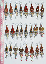 Lot 4 Pairs Drop Dangle Ceramic Peruvian Ethnic Earrings Handcrafted Jewelry Art