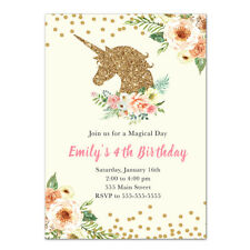 30 invitations unicorn girl birthday baby shower personalized gold glitter pink