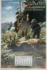 The SAVAGE Rifle and Ammunition Elk Hunter ad Vintage poster art