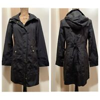 COLE HAAN Womens Zip Up Windbreaker Rain Hooded Long Jacket Coat Small Black