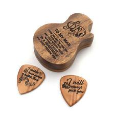 2 Custom Wooden Guitar Picks Walnut Nuno Tattoo Logo Laser Engraved
