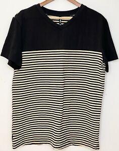 DANGERFIELD Mens 100% Cotton Black Yellow Stripe T-Shirt, Size XL short sleeve
