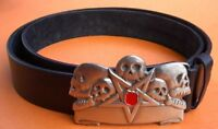 Punk Rock Gothic Bone Skull Leather Belt Buckle 44
