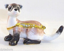 MINIATURE PET FERRET PEWTER  BEJEWELED HINGED TRINKET  BOX