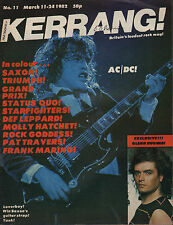 Angus Young of AC/DC on Mag Cover 1982 Kerrang No: 11