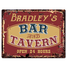 PPBT0128 BRADLEY'S BAR and TAVERN Rustic Tin Chic Sign Home Store Decor Gift