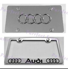 Audi With LOGO Stainless License Frame & Mirror Plate Rust Free