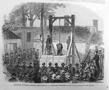 1865 newspaper CONFEDERATE Guerrilla CHAMP FERGUSON EXECUTED by Public Hanging