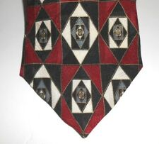 BACHRACH MADE IN ITALY SILK DESIGNER NECKTIE Black & Red Geometric