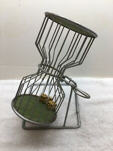 """Vintage 10"""" Chuck-a-Luck 3 Wood Dice Steel Cage Gaming Gambling Carnival"""