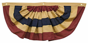 """Primitive Country Farmhouse Tea Stained Cotton Patriotic 36"""" AMERICANA BUNTING"""
