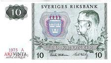 10 Zehn Schwedische Kronen Tio Kronor Sverige Sweden Ten Crowns Banknote 1975