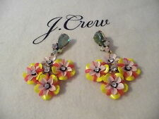 NWT J CREW FUN FLORAL AND CRYSTAL EARRINGS  F2855, LEMON, $78, SOLD OUT