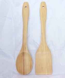 2pcs Bamboo Wood House Kitchen Tools Spatula Wooden Cooking Mixing Utensils SET