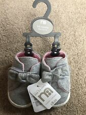 Mothercare Pram Shoes Grey Bow Baby Girls 3-6 Months