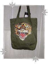 Magnifique Sac en Toile Kaki Tigre Strass Ed Hardy by Christian Audigier Neuf