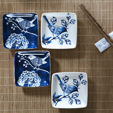 Ceramic Spices Dishes Set of 4,Blue and White